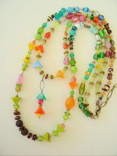 Boho Necklace Beaded Necklace Colorful Jewelry by BohoStyleMe