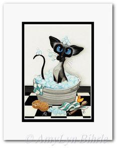 Siamkatze Bad Blasen Bad Dekor  Kunstdrucke von von AmyLynBihrle