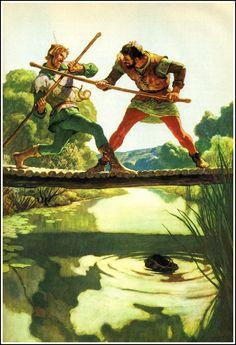 N.C. Wyeth - Robin Hood and Little John, Illustration    http://2.bp.blogspot.com/-UJc_hWa3zl0/UJ8L_aHM6CI/AAAAAAAB7js/9iObt8InKqM/s1600/09_childrenslit_wyeth_robinhoodlittlejohn.jpg