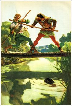 N.C. Wyeth - Robin Hood and Little John, Illustration    http://2.bp.blogspot.com/-UJc_hWa3zl0/UJ8L_aHM6CI/AAAAAAAB7js/9iObt8InKqM/s1600/09_childrenslit_wyeth_robinhoodlittlejohn.jpg