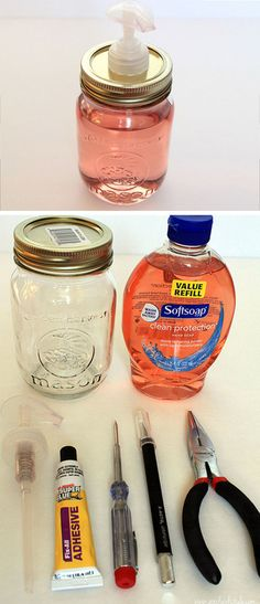 Mason Jar Soap Pump Dollar Store Organizing Ideas for Bathrooms Mason Jar Projects, Mason Jar Crafts, Mason Jar Diy, Mason Jar Bathroom, Mason Jar Kitchen Decor, Mason Jar Storage, Bathroom Small, Simple Bathroom, Kitchen Ideas