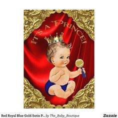 Red Royal Blue Gold Satin Prince Baby Shower 5x7 Paper Invitation Card