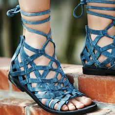 Free People Sandals Woven suede sandals with an adjustable ankle tie. Back zip closure for an easy on-off.  Size 36 international  *By Free People  *Artisan crafted from fine leathers and premium materials, FP Collection shoes are coveted for their signature vintage aesthetic. Free People Shoes Sandals
