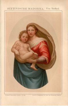 1895 Fine Sistine Madonna Print La Madonna di San by Craftissimo, €45.90