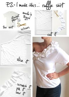 I'm not sure how I feel about the full T-shirt sleeve on the one side. But maybe if it was a tanktop sleeve? Diy Couture, T Shirt Diy, Shirt Refashion, T Shirt Recycle, Sewing Hacks, Sewing Projects, Sewing Crafts, Diy Crafts, Sewing Ideas