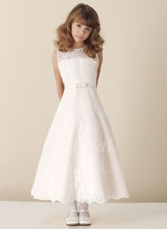 Flower Girl Dresses - $123.00 - A-Line/Princess Scoop Neck Ankle-Length Satin Lace Flower Girl Dress With Lace Beading (01005009419)