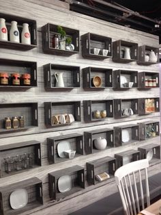 Loads of crates from Urban Barn create a hipster / larder / dining room. See it come alive a week Monday!