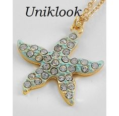 Sparkling Fun Seaside Flair Gold Aqua Clear crystal Pave Tiny Starfish Necklace $18.99