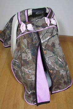 Realtree AP Camo and Pink Baby Girl Car Seat Canopy / Infant Carseat Cover/ Baby Carseat Canopy