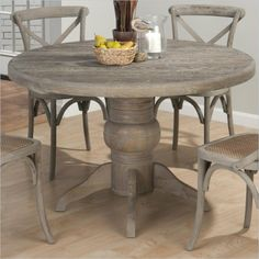 Jofran Round Solid Oak Dining Table in Burnt Grey - 856-48-KIT