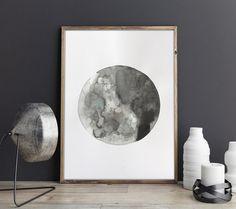 Affiche Originale Lune création unique aquarelle et encre A3