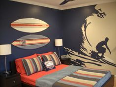 Surfer Boys Room: the person who did this room suggested taking a picture that you like and using an overhead projector....trace it onto the wall and paint! Also a clever idea to take the blanket to a paint store: they will create the colors from the blanket into a paint...didn't know that!
