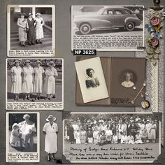 Traditionally designed heritage digi layout with the look of an old-fashioned scrapbook page.