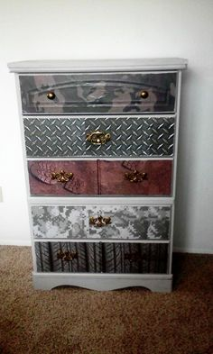 Paint, scrapbook papers,mod podge....madeover boys dresser