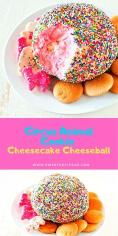 This Circus Animal Cookie Cheesecake Cheeseball is made with cream cheese, cookie mix, and circus animal cookies all rolled in nonpareil rainbow sprinkles.