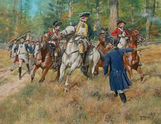 General Riedesel and staff leading his Brunswickers on to the field at the battle of Freeman's Farm during the Saratoga campaign.