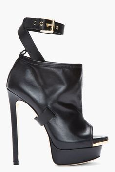 DSQUARED2 Black Leather Buckled Peep toe Biker Boots