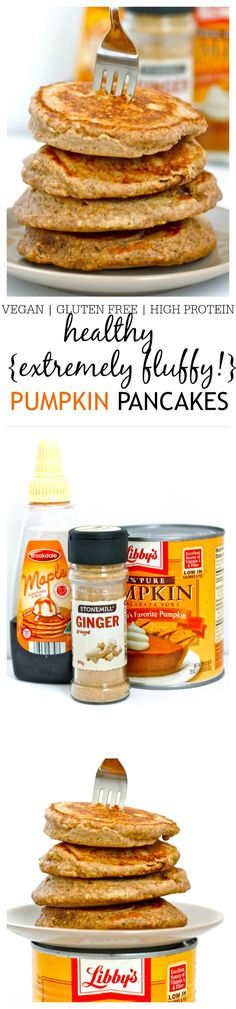 Healthy {and fluffiest!} Protein Packed Pumpkin Pancakes- Hands down the fluffiest pancakes you'll ever make which are so healthy and filling! High in protein gluten free dairy free sugar free and a vegan option an easy method provides a perfect stac Gluten Free Recipes, Vegan Recipes, Cooking Recipes, Vegan Desserts, Free Breakfast, Breakfast Recipes, Paleo Breakfast, Breakfast Pancakes, Breakfast Ideas