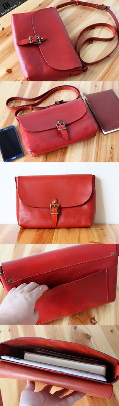 Handmade shoulder bag vintage rustic red leather crossbody messenger S | EverHandmade