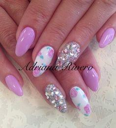 #handpainted #rose #acrylicnails #swarowski #pink #stiletto