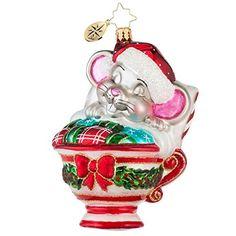 Christopher Radko Maxwell Mouse Glass Christmas Ornament