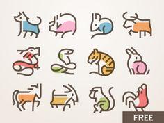 春节图标 – Free Chinese New Year icons – Adam Keresztes – Design Chinese Icon, Icon Design, Logo Design, Party Icon, Kindergarten Art Projects, New Year Designs, Amazing Drawings, Chinese Zodiac, Doodle Drawings