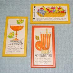 Set of 3 Vintage Framed Soovia Janis Pati Kitchen / Bar Art Prints, 1968-69