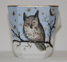 Antique Victorian Hand Painted Porcelain Cup OWL Moon Stars Night Scene Gold Edge Lattice Work