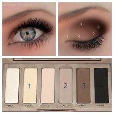 EYE MAKEUP GUIDE: Beautiful Eye Makeup - I have this eyeshadow palette (naked basics urban decay). by ina Eye Makeup Steps, Smokey Eye Makeup, Makeup For Brown Eyes, Makeup Eyeshadow, Eyeshadow Palette, Mac Makeup, Eyeshadow Guide, Beauty Makeup, Smoky Eye