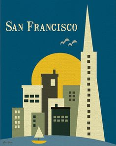 San Francisco, California Skyline - Travel Retro Art Poster Print for Home and Office -style E8-O-SF1 via Etsy