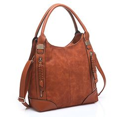 UTAKE Women Handbags Leather Handbags Shoulder Bag PU Leather Bag Large  Tote Bag UT57 Brown - 746ea64918124