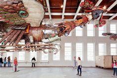 """Artwork in the Mass MoCA exhibit """"Xu Bing: Phoenix"""" (Hideo Sakata) Photo: Hideo Sakata"""