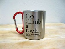 "Stainless steel cup with carabiner. ""Go climb a rock"" (Yosemite) Havent visited Yosemite yet, but i love the cup design Trekking, Rock Climbing Gear, Base Jumping, Stainless Steel Cups, Whitewater Kayaking, Canoe Trip, Hiking Gear, Mountaineering, Adventure Is Out There"