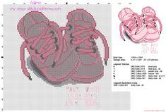 Cadre de naissance bébé point de croix avec chaussures rose prenom poids longueur