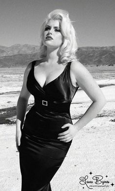 aa-rt: The Jayne Glamour Dress in Solid Black Satin by Pinup Couture want this so badly!