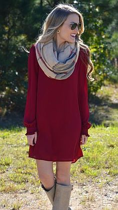 Latest fashion trends: Street style | Burgundy dress, knee boots and infinity scarf