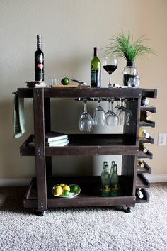 Handcrafted Wooden Bar Cart por CalderonConstruction en Etsy