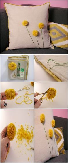 DIY Dandelion Pom Pom Pillow. Maybe we could use crocheted hearts?