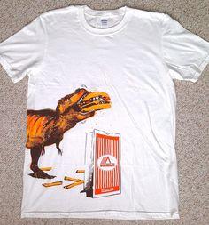 new rare WHATABURGER TEE Fast-Food T-Rex Dinosaur Eating Cheeseburger Burger LRG #Gildan #ShortSleeve