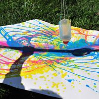 "Pendulum Painting: from ""Big Messy Art"". Painting without brushes idea for kids of all abilities."