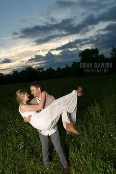 Photo by Brian Slawson Photography. #engagements #field #country #sunset