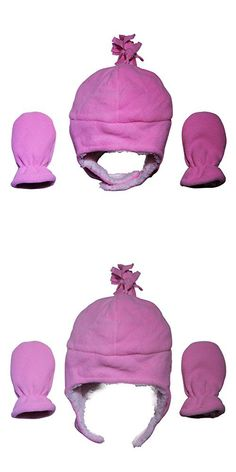 Conda Hats n Caps Infant / Baby Girls Light Pink Beanie and Mitten Set - Warm Winter Beanies and Gloves - Sherpa / Aviator Style. (Medium)