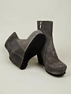 Rick Owens Men's Wedge Zipped Boots in dark dust at oki-ni