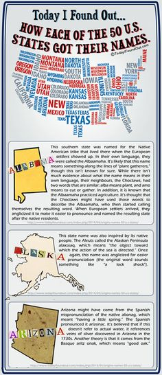 How each of the 50 states got their name. (Click to view the whole free infographic)