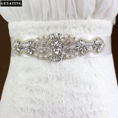 >> Click to Buy << 2017 New Crystal Beaded Bridal Belt with White Robbion Ball Gown Button Wedding Accessories Wedding Sashes #Affiliate