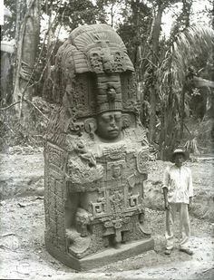 Quirigua is an ancient maya archeological site along the lower Montagua river in South-eastern Guatemala Photographed by Dr Alfred Percival Maudslay 1894, British Museum.