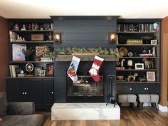 Fireplace Bookshelves, Fireplace Built Ins, Liquor Cabinet, Interior Design, Storage, Building, Furniture, Home Decor, Nest Design
