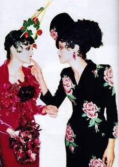 Ellen Von Unwerth for American Vogue, October 1996. Dresses by John Galliano for Givenchy.