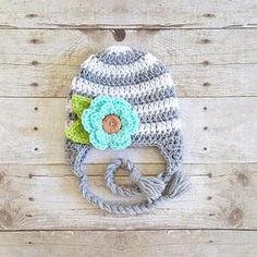 Crochet Striped Flower Beanie Hat Button Leaves Newborn Baby Infant Toddler Child Adult Handmade Baby Shower Gift Photography Photo Prop