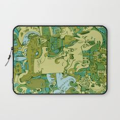 Green Town Laptop Sleeve by Hanna Ruusulampi | Society6